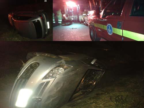 IMAGENS EXCLUSIVAS MIX NOTÍCIAS: Carro onde as estudantes estavam caiu no canteiro central, entre as duas pistas