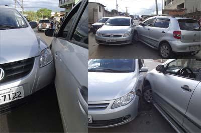 Imagens do acidente entre o carro do padeiro e o veículo do morador do bairro Felipe Cláudio Sales