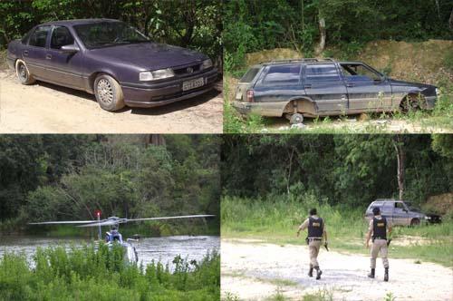 Policias por terra e pelo ar no Helicóptero em busca dos acusados