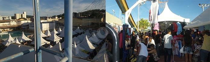Muitas barracas foram montadas dentro do Clube Social com a finalidade de atrair o público às compras